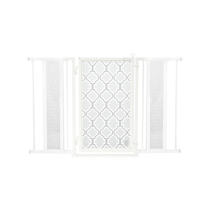 "52"" - 60"" Trellis in White Fusion Gate, White Pearl Finish"