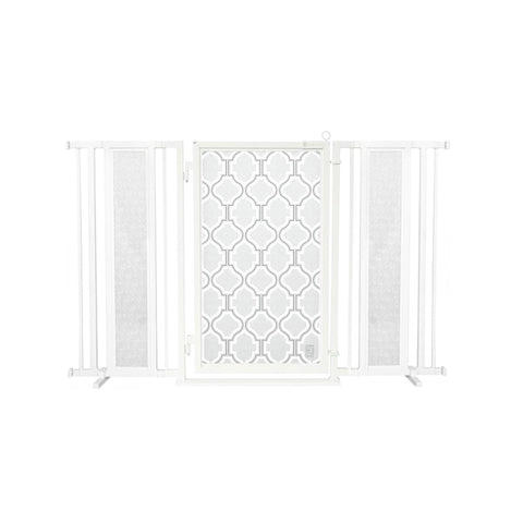 "60"" - 65"" Trellis in White Fusion Gate, White Pearl Finish"
