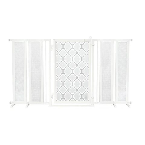 "71.5"" - 74"" Trellis in White Fusion Gate, White Pearl Finish"