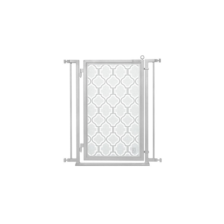 "32"" - 34"" Trellis in White Fusion Gate, Satin Nickel Finish"