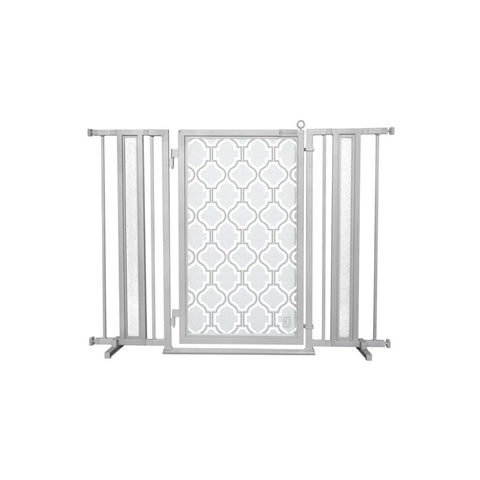 "36"" - 52"" Modern Lines Fusion Gate, White Pearl Finish"