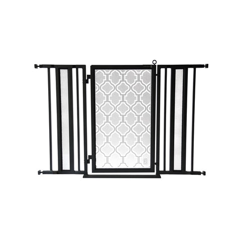 "36"" - 52"" Trellis in White Fusion Gate, Black Finish"