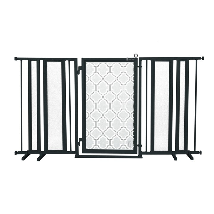 "65"" - 71.5"" Trellis in White Fusion Gate, Black Finish"