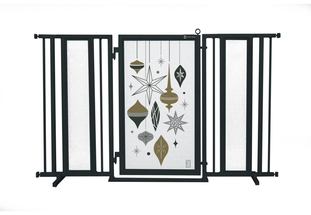 "60"" - 65"" Holiday Ornaments Fusion Gate, Black Finish"