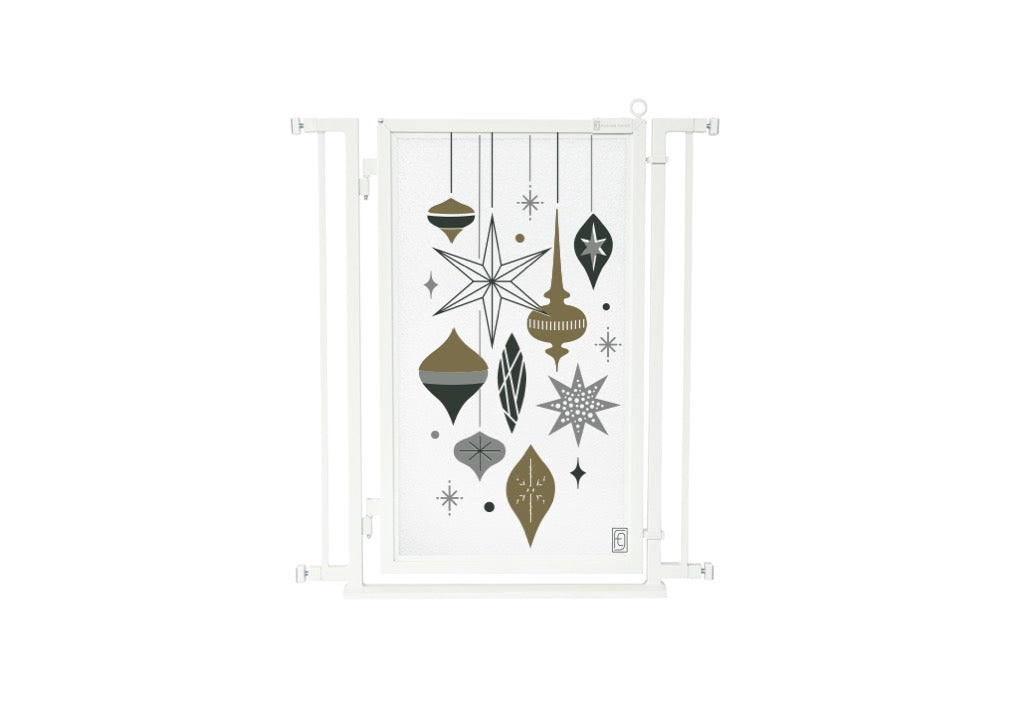 "32"" - 34"" Holiday Ornaments Fusion Gate, White Pearl Finish"