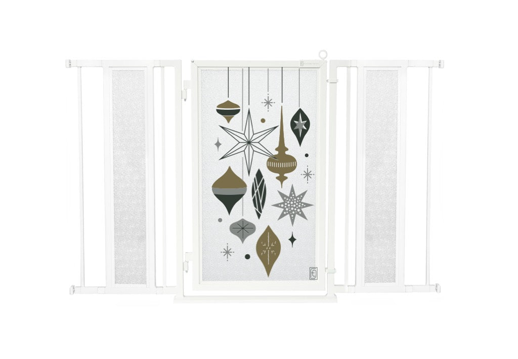 "52"" - 60"" Holiday Ornaments Fusion Gate, White Pearl Finish"