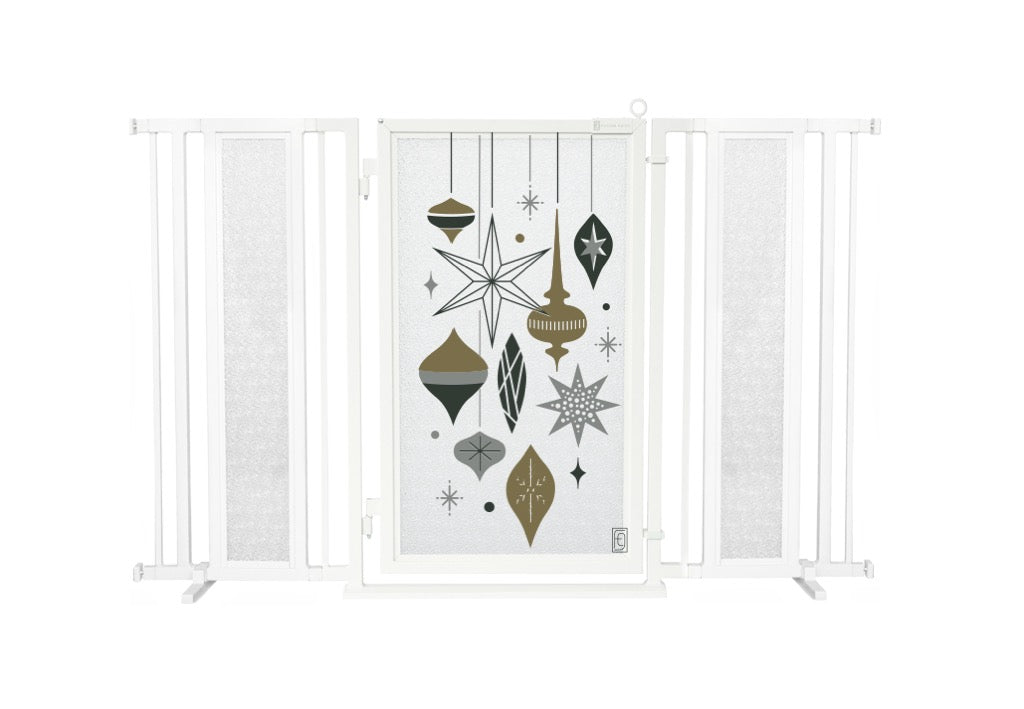 "60"" - 65"" Holiday Ornaments Fusion Gate, White Pearl Finish"
