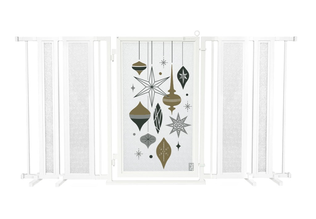 "65"" - 71.5"" Holiday Ornaments Fusion Gate, White Pearl Finish"