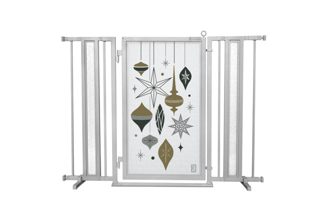 "36"" - 52"" Holiday Ornaments Fusion Gate, Satin Nickel Finish"