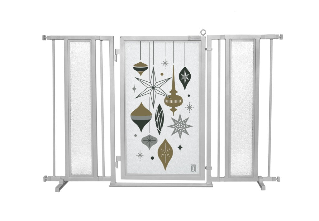"52"" - 60"" Holiday Ornaments Fusion Gate, Satin Nickel Finish"