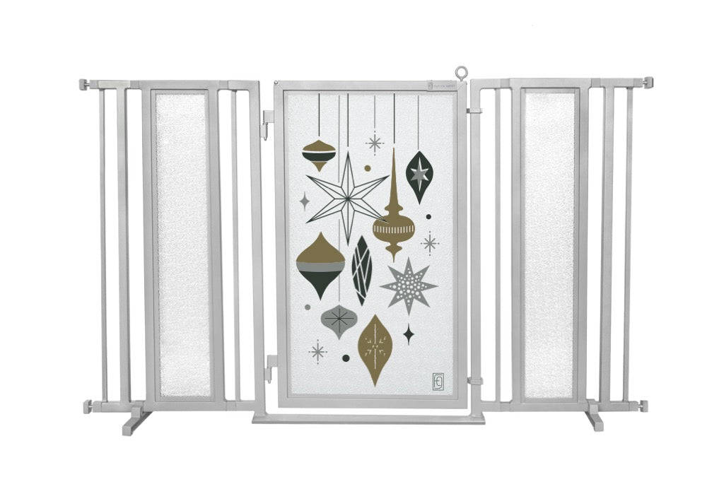 "60"" - 65"" Holiday Ornaments Fusion Gate, Satin Nickel Finish"