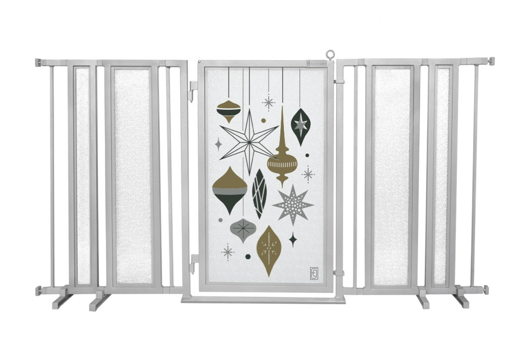 "65"" - 71.5"" Holiday Ornaments Fusion Gate, Satin Nickel Finish"