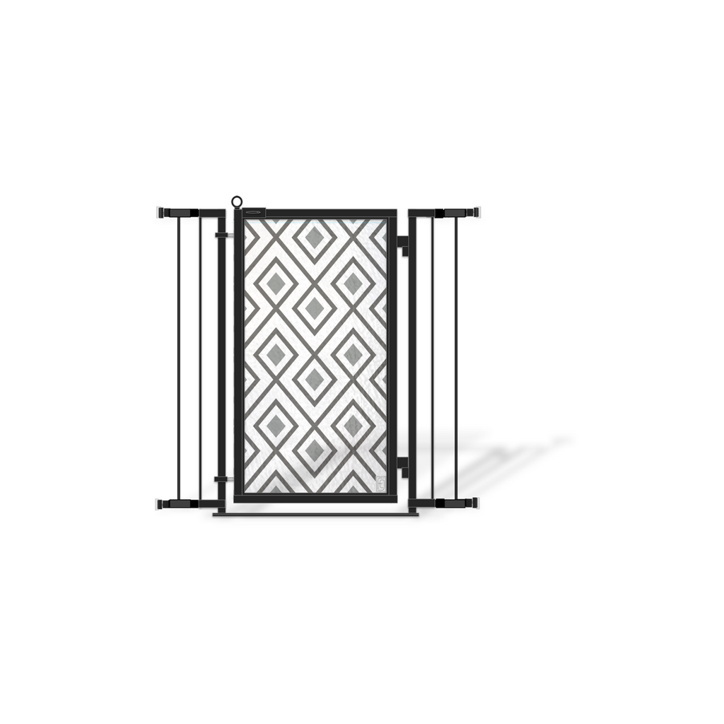 Fusion Gates Designer Baby & Pet Gates for Home, Gray Diamonds