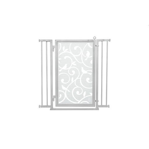 "32"" - 36"" Songbirds in White Fusion Gate, Satin Nickel Finish"