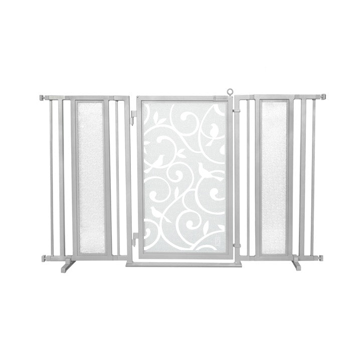 "60"" - 65"" Songbirds in White Fusion Gate, Satin Nickel Finish"