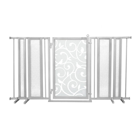 "65"" - 71.5"" Songbirds in White Fusion Gate, Satin Nickel Finish"