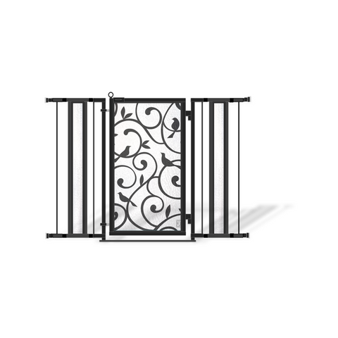 "36"" - 52"" White Garden Fusion Gate, Satin Nickel Finish"