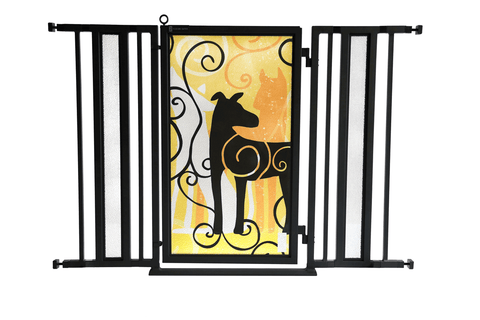 "36"" - 52"" Trellis in White Fusion Gate, Satin Nickel Finish"