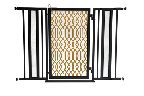 "36"" - 52"" Gold Lattice Fusion Gates, Black Finish"
