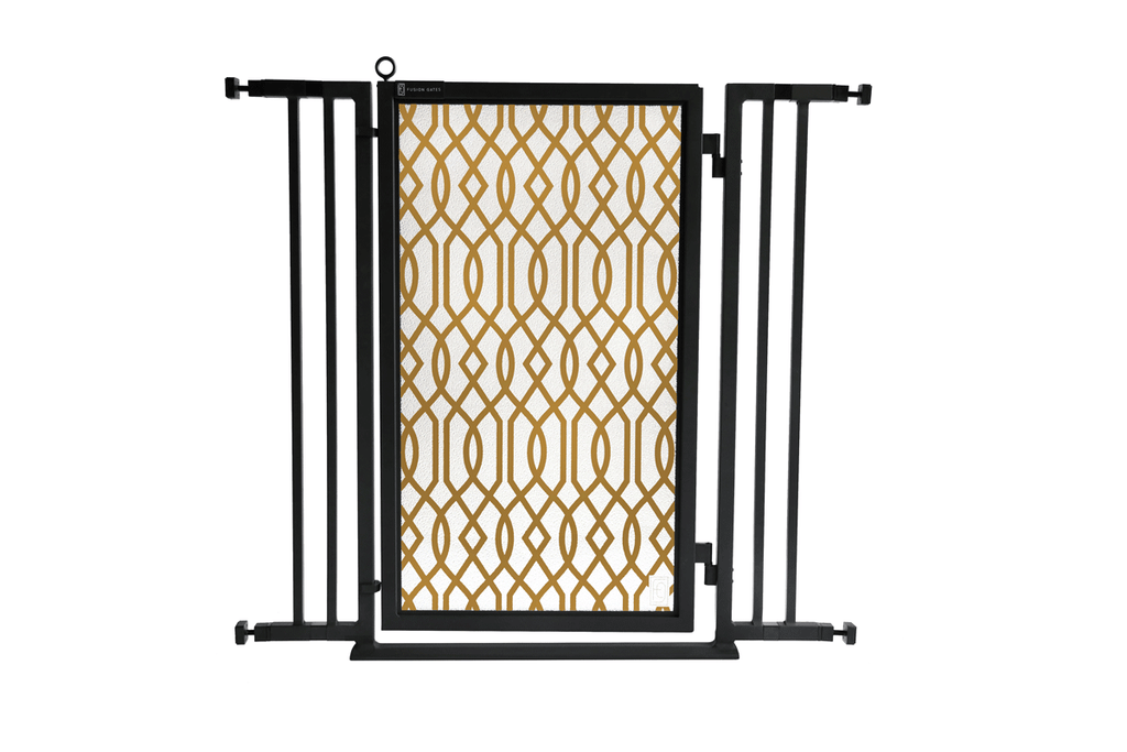 "32"" - 36"" Gold Lattice Fusion Gate, Black Finish"