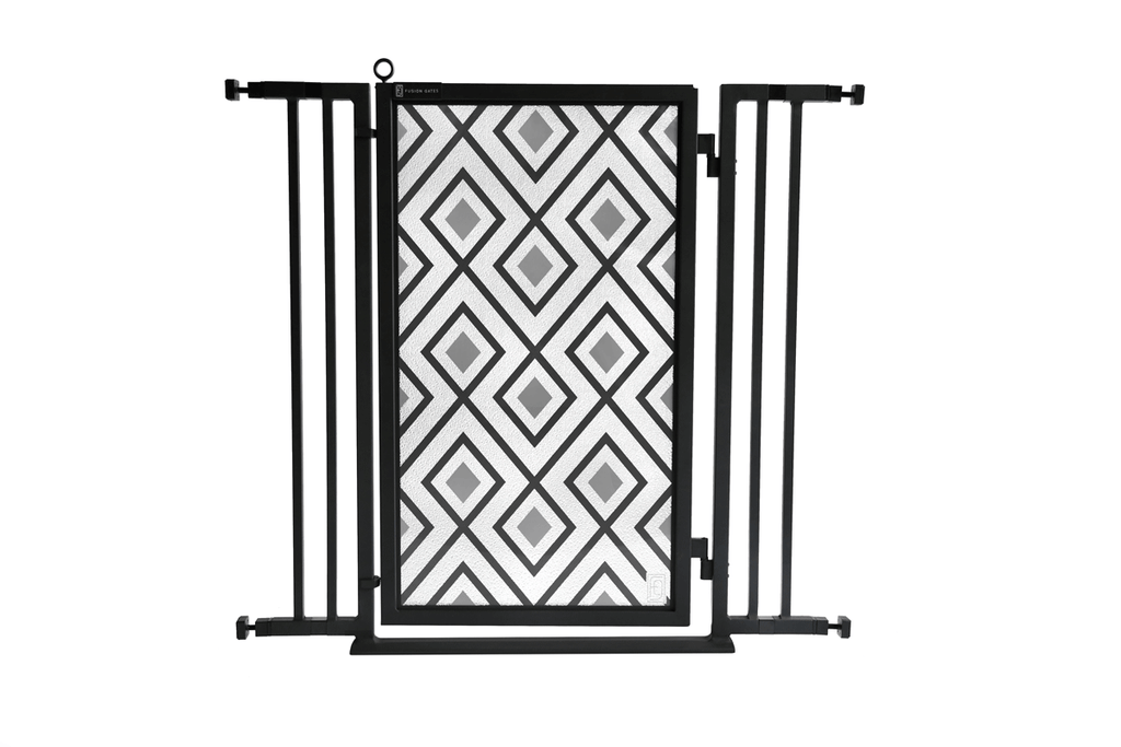 "32"" - 36"" Gray Diamonds Fusion Gate, Black Finish"