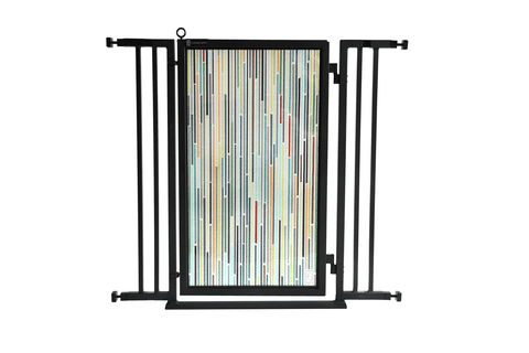 "36"" - 52"" Songbirds in White Fusion Gate, Black Finish"