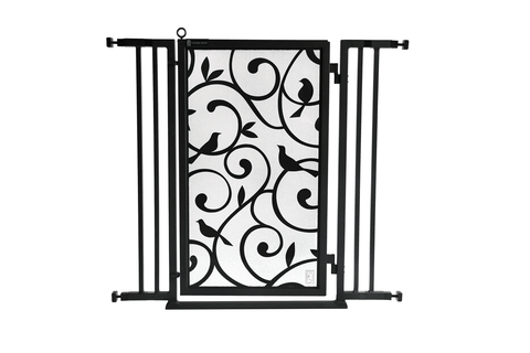 "32"" - 36"" Gold Lattice Fusion Gate, White Pearl Finish"