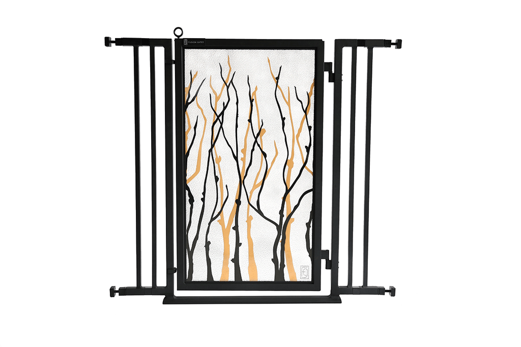 "32"" - 36"" Willow Branches Fusion Gate, Black Finish"