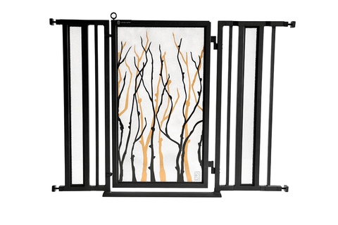 "36"" - 52"" Songbirds in White Fusion Gate, Satin Nickel Finish"