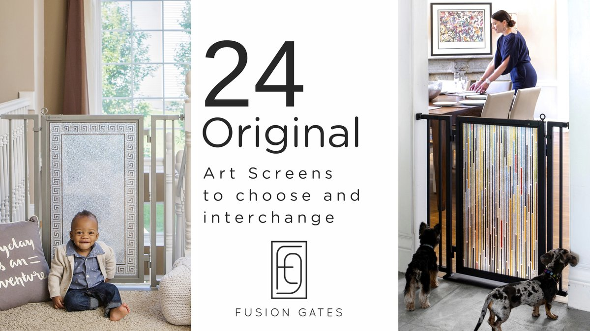The only baby & dog gate with interchangeable art screens