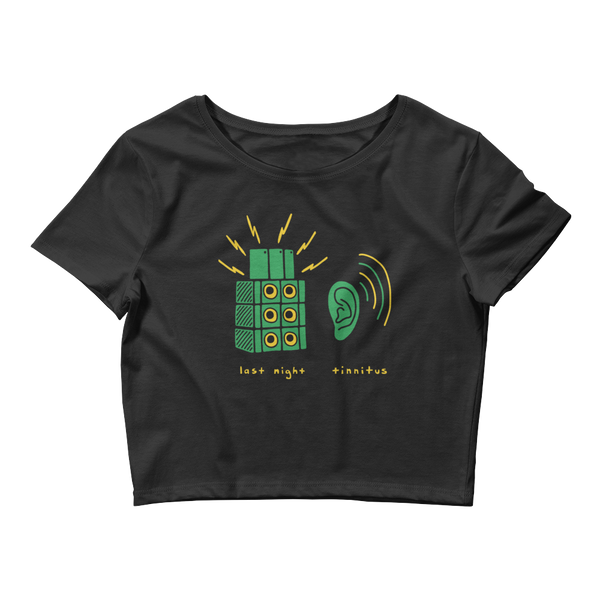Tinnitus Crop Top With Speakers and Ear Ringing Green | I Club Detroit