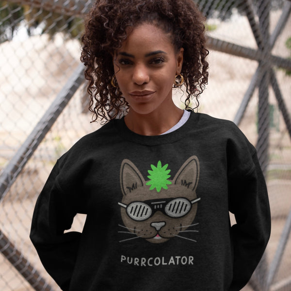 It's time for the percolator cat with green Mohawk purrcolator sweatshirt | I Club Detroit
