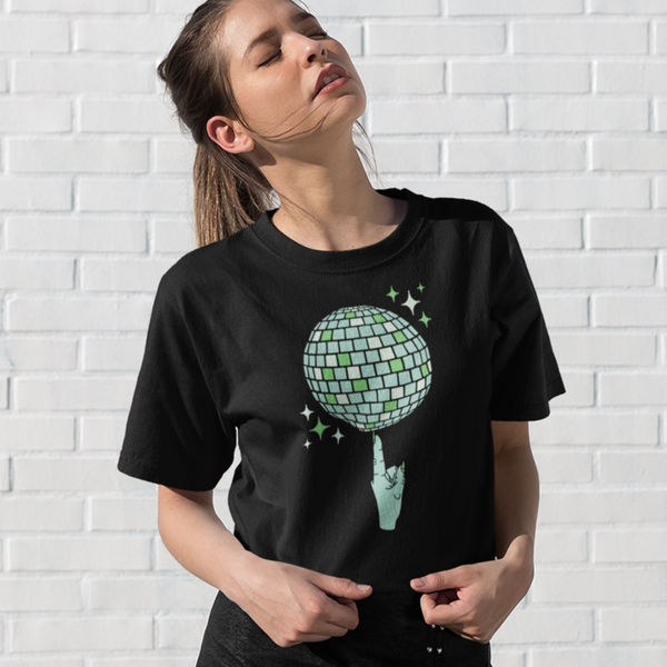 Witch's Index Finger Spinning Disco Ball Front Print Unisex T-Shirt | I Club Detroit