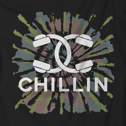 Chillin Headphones Couture Tie-Dye Black Unisex Sweatshirt w Sleeve Print