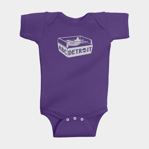 ABCDETROIT Baby Creeper Purple