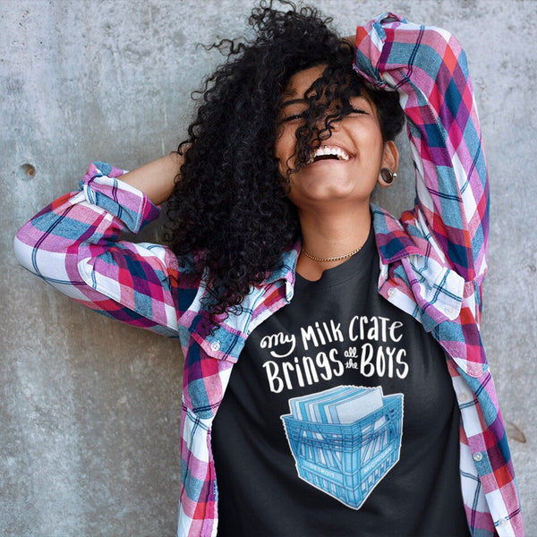 Female Wearing My Milk Crate Brings All the Boys Black Unisex Tee | I Club Detroit