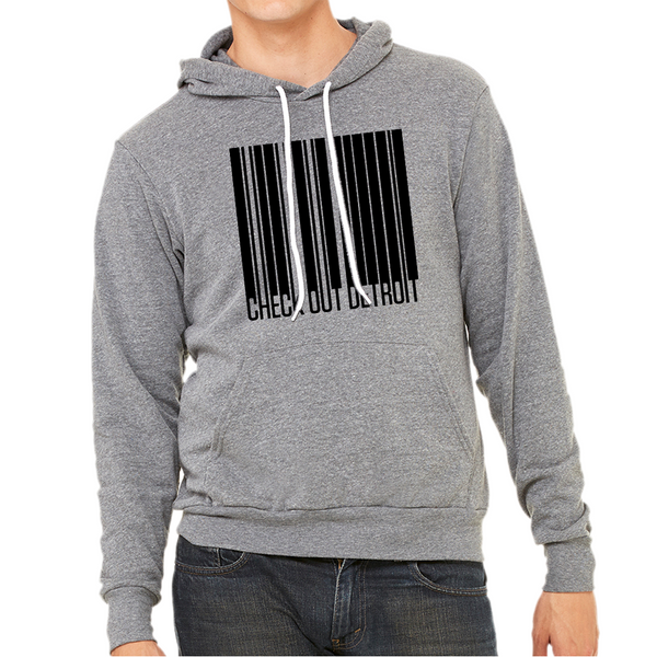 Check Out Detroit Barcode Hoodie Deep Heather Grey | I Club Detroit