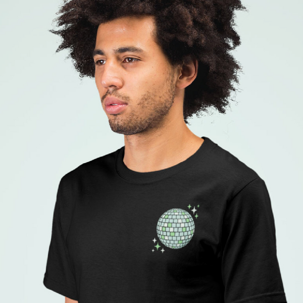 90s Aesthetic Green Disco Ball left Chest Print Black T-Shirt | I Club Detroit