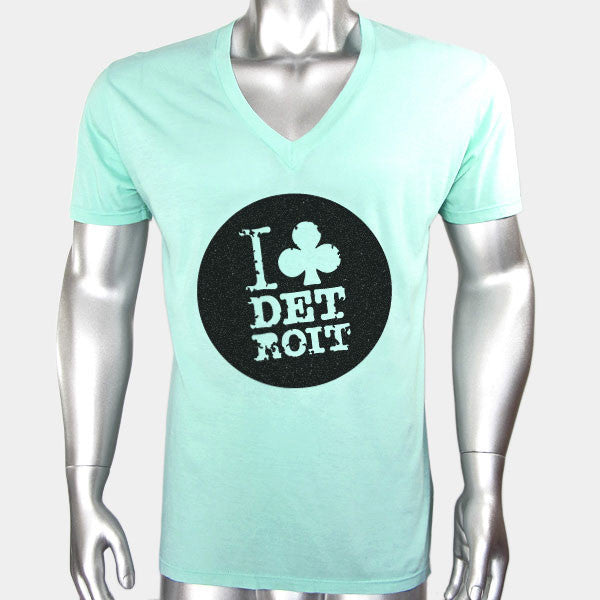 I Club Detroit Green Techno T-Shirt Deep V