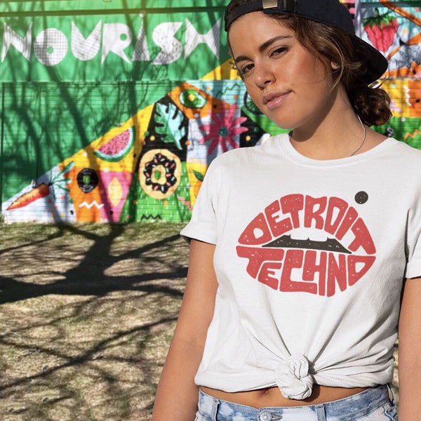 Detroit Techno Shirt with Lips on Girl in Front of Mural at Eastern Market | I Club Detroit