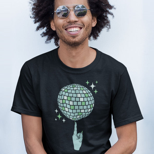 Index Finger Spinning Disco Ball T-Shirt on Male Model | I Club Detroit