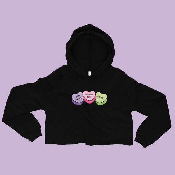 Detroit Valentine Candy Hearts Black Crop Hoodie