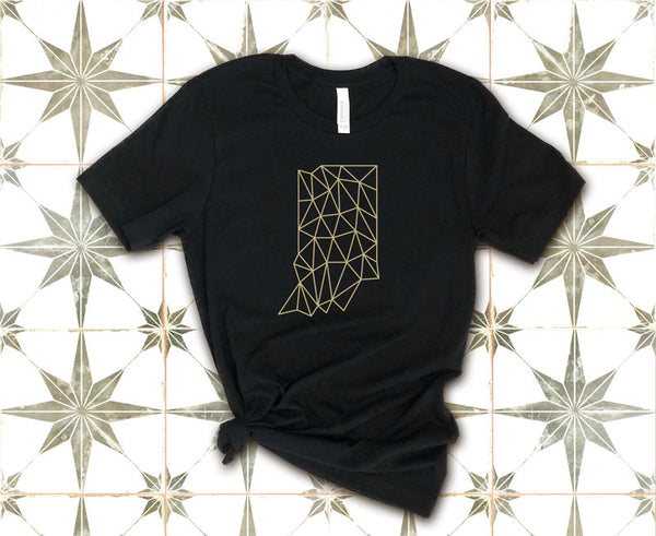 Geometric Wireframe Indiana T-Shirt Tied at Waist | I Club Detroit