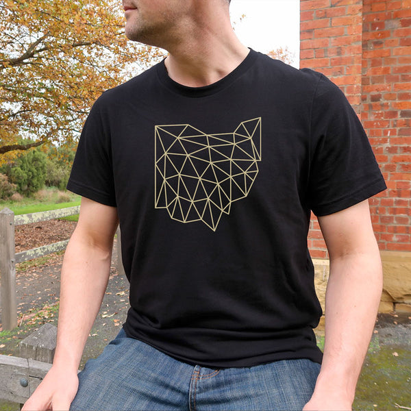 Wireframe Ohio Shirt on Male Model Outside | I Club Detroit
