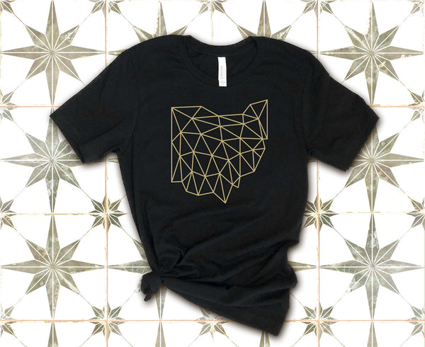 Polygonal Wireframe Ohio Shirt Flat Lay on Tile | I Club Detroit
