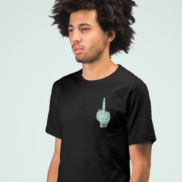 Witch's Green Middle Finger Pocket Print Shirt on Male Model | I Club Detroit