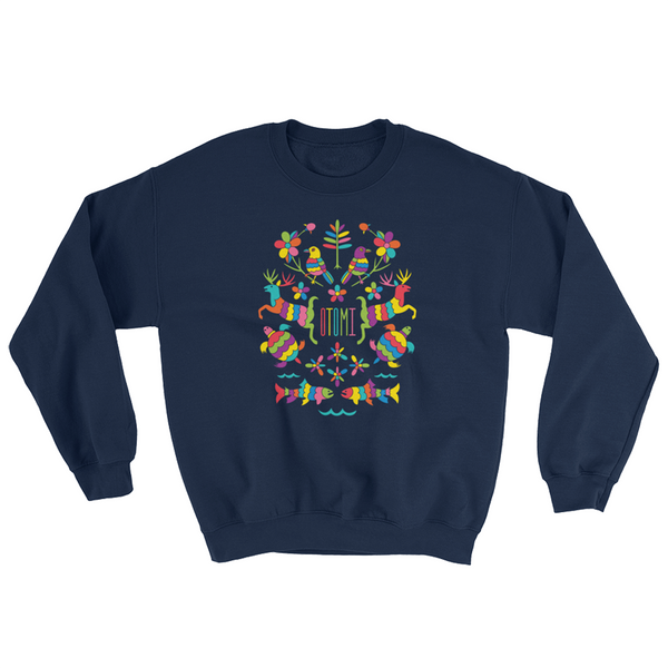 Mexican Otomi Michigan Sweatshirt Unisex Navy Blue | I Club Detroit