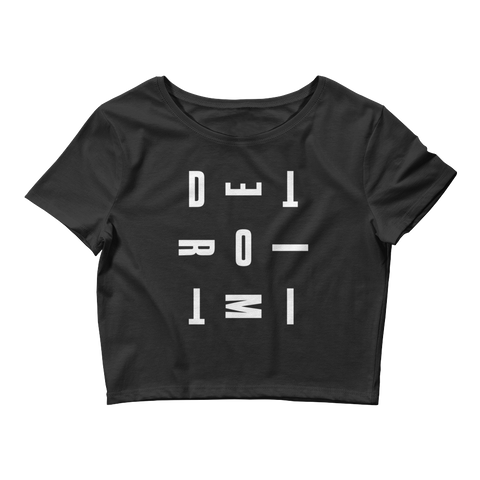 DETROIT MI Women's Crop Top Black