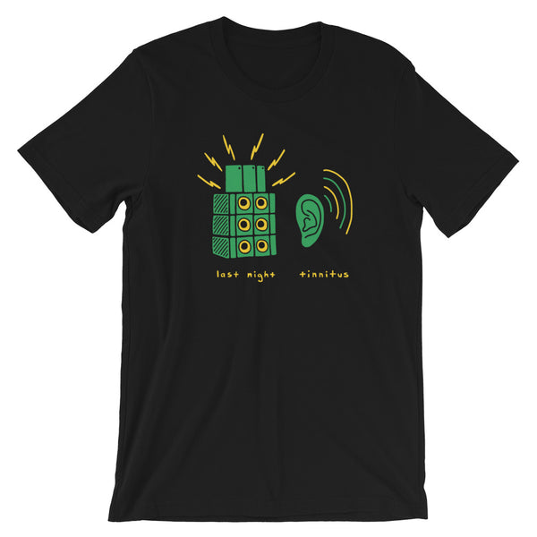 Tinnitus Loud Music Green and Black Unisex T-Shirt