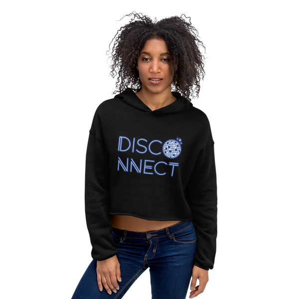 Disco Ball Disconnect Cropped Hoodie Black | I Club Detroit